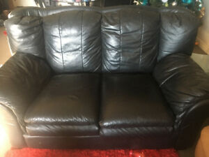 Matching Black love seat and chair