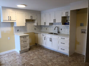 White Shaker Kitchen Cabinets & Quartz Countertop 3C