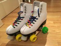 White Rio Figure Roller Skates c/w Skate Protection Pack