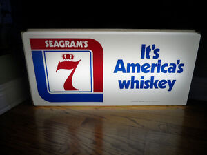 """SEAGRAM'S 7 LIGHT UP WHISKEY SIGN. IT'S AMERICAS WHISKEY. 25"""" x"""