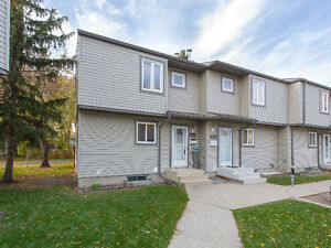 3 bdrm townhouse by 23 Ave/91 St, end unit, finished bsmt, yard
