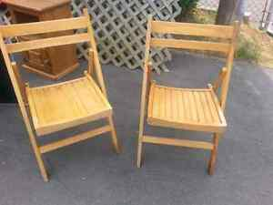 2 Folding wooden chairs