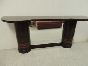 Antique Eaton Side Display Table w/ Mirror