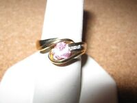 10 kt y/gold pink sapphire ladies ring