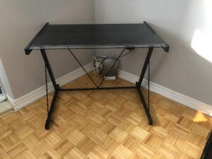 Black Steel & Glass Desk