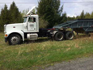 Peterbuilt tractor trailer tandem axel bellydump