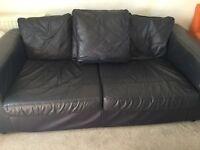 1 Black Leather Sofa Large