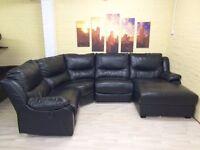 Electric Reclining Black Leather Corner Sofa