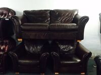 As new brown leather 2 11 sofa set