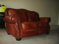 Natuzzi High End Brown 100% Genuine Leather Loveseat Like New