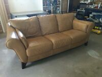 Leather Couch and Chair with End Tables and Footstool