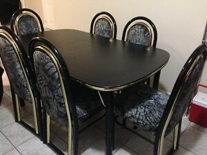 6 Chairs and Dining Table Set Mint condition - Black n Gold