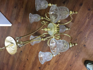 Free brass and cut glass chandelier