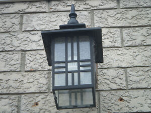 Two Black Outdoor Light Fixtures