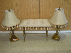 2 matching lamps & bench
