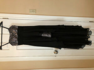 Black spaghetti strap  evening/prom dress with sequins.