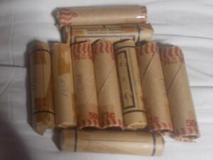ROLLS OF 50 CANADA 1950 T0 1959 CIRCULATED ONE CENT  COINS.