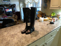 NEW Ladies, Size 7 , Alfred Sung Tall Black Leather Boots