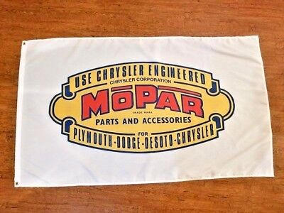 MOPAR PARTS AND ACCESSORIES FLAG BANNER 3X5FT PLYMOUTH DESOTO DODGE CHRYSLER