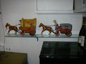 Antique Toys, Horse drawn covered Wagon & Stagecoach Ornaments