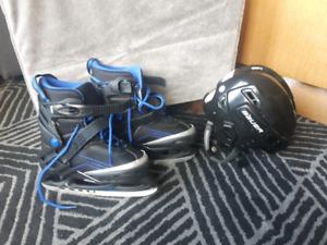 ADJUSTABLE! Ice skates and helmet