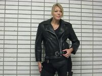 Leather motorcycle jacket- Jacket Cuir moto pour femme