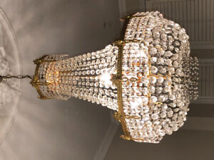 Exquisite Antique French Empire Gilt Bronze Crystal Chandelier