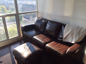Great Condition Brown Leather Couch, Chair, and Ottoman FOR SALE