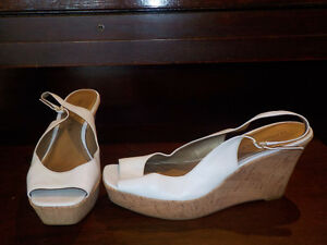 Marc Fisher White strappy wedge