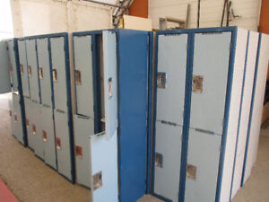 Double and single blue lockers