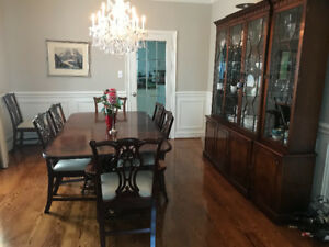 Solid Mahogany 10' Dining Table Set and Buffet