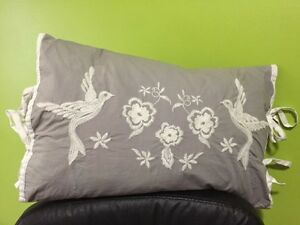 Decorative Embroidered Bird Pillow