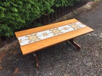 Retro Vintage Solid Teak / Tiled Coffee Table G plan era - CAN DELIVER