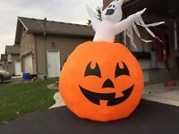 Inflatable Halloween pumpkin and ghost