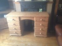 Solid heavy pine dressing table drawers desk