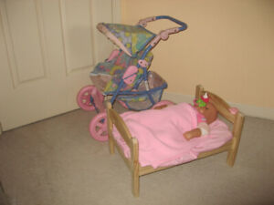 Girls Play Sets: Doll Stroller, Bed,  Carrier Rocker, Baby Doll