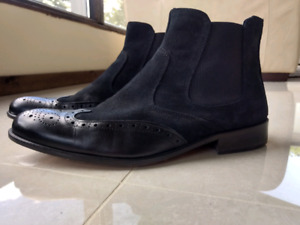 Mens black suede + italian leather boots size 44/10.5 worn once
