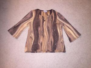 women ladies 70s style sparkly shirt - S M