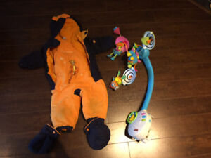 Baby Mozart mobile and snow suit