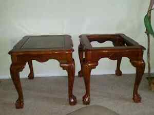2 x solid oak French Provicial ball claw glass top end tables.