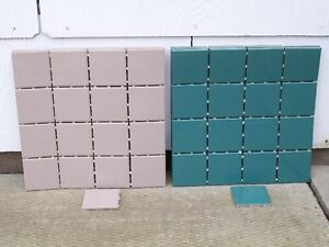 Ceramic Tiles - 96 tiles - 3 inch x 3 inch - taupe & blue/green
