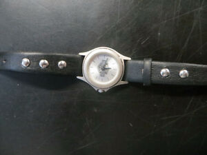 Harley woman watch, leather studded bracelet