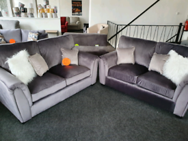 NEW Grey Velvet Odion 2 + 2 Seater Sofa Suite DELIVERY AVAILABLE