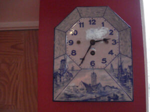 Delft Wall Clock- Key wound