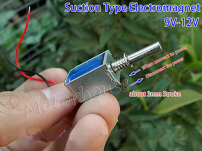 9v-12v Dc Suction Micro Electromagnet Spring Push Pull Type Rod Solenoid Magnets