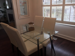 Dining room set and living room furniture - condo sized