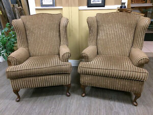 WING BACK CHAIRS - PAIR!!!