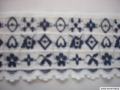 3 Lfm breite elastische Spitze 1,20€/m weiß,blau 6,5cm breit TA66