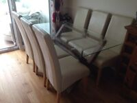Glass Top Dining Table and 6 chairs