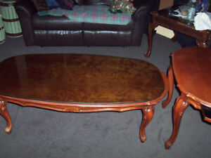 antique coffee table and 2 end tables